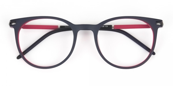 Navy Blue & Red Round Spectacles in Acetate - 6
