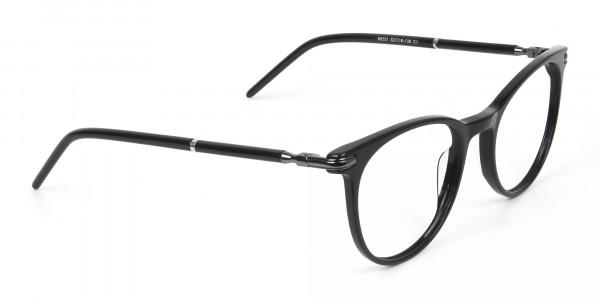 Black Round Spectacles in Acetate - 2
