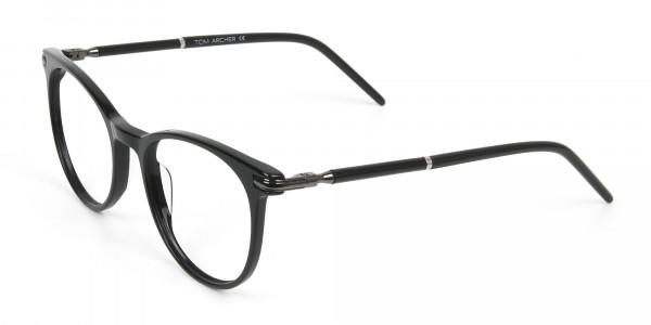 Black Round Spectacles in Acetate - 3