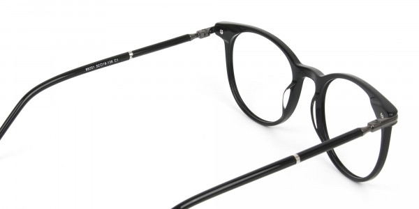 Black Round Spectacles in Acetate - 5