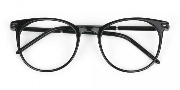 Black Round Spectacles in Acetate - 6
