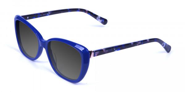 Women Blue Cat-Eye Sunglasses Oversize-3