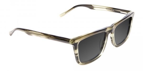 Men's Women's Havana Green Rectangular Sunglasses UK-2
