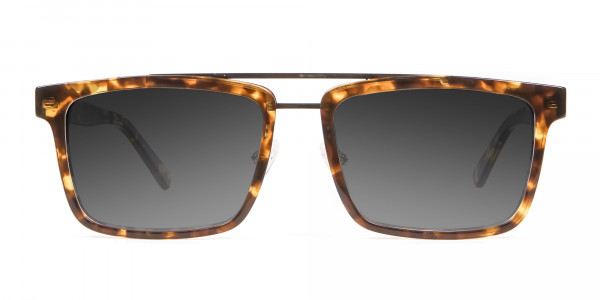 Men's Women's Dark Grey Rectangle Sunglasses-1
