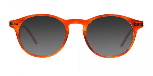 Caramel Grey Round Sunglasses Men Women-1