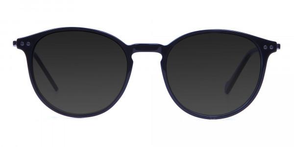 Dark Grey Sunglasses with Black Round Frame - 1