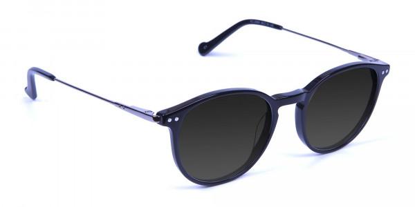 Dark Grey Sunglasses with Black Round Frame - 2
