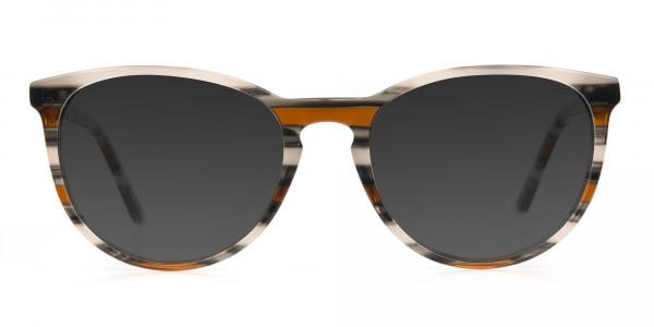 Silver Grey & Brown Striped Sunglasses - 1