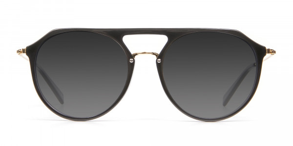 Black & Gold Double-Bridged Sunglasses-1