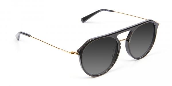 Black & Gold Double-Bridged Sunglasses-2