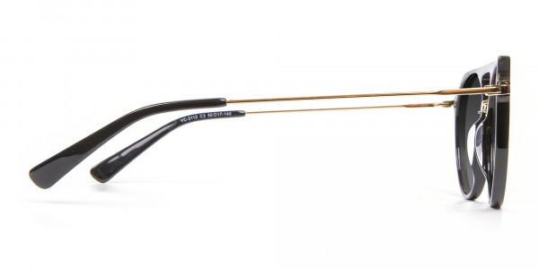 Black & Gold Double-Bridged Sunglasses-4