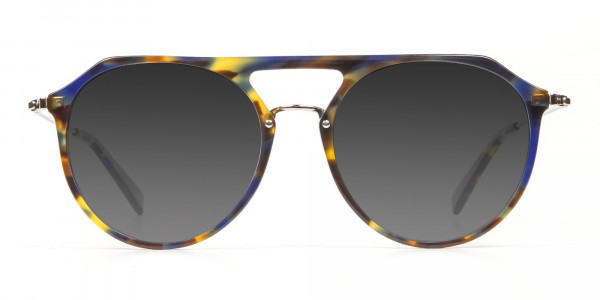Grey Double-Bridged Aviator Sunglasses-1