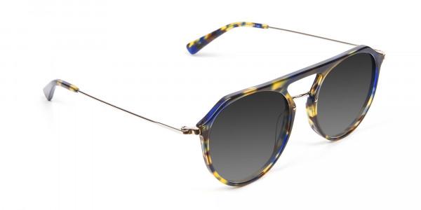 Grey Double-Bridged Aviator Sunglasses-2