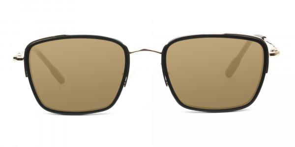 Dark Brown Tinted Black & Gold Square Wayfarer Sunglasses - 1