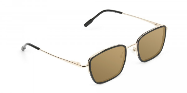 Dark Brown Tinted Black & Gold Square Wayfarer Sunglasses - 2