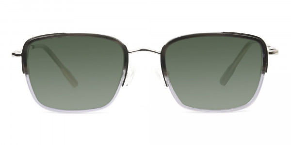 Green Tinted Charcoal Wayfarer Sunglasses -1