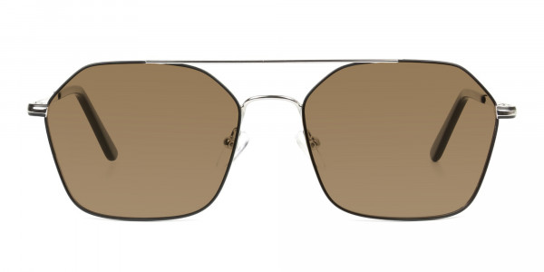 ultralight-silver-black-geomatric-aviator-brown-tinted-sunglasses-1