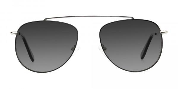 silver-green-thin-frame-aviator-Grey-tinted-sunglasses-1