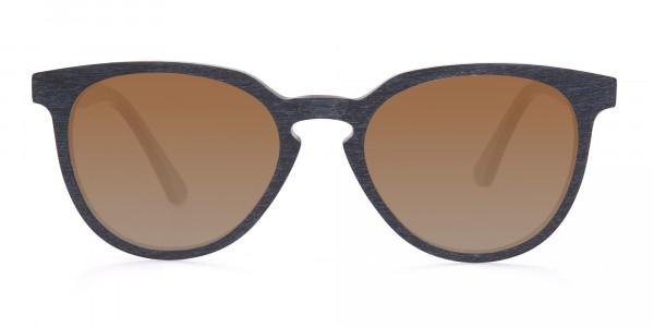 Black Wood Sunglasses with Dark Brown Tint - 1