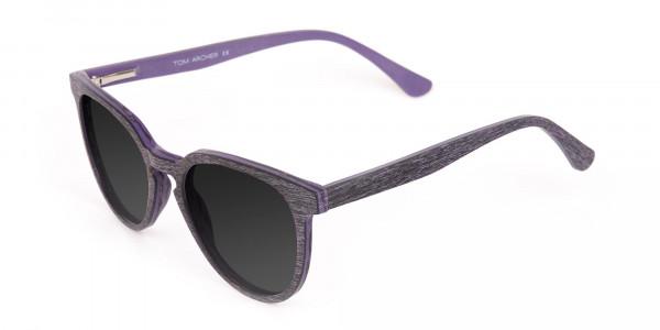 Dark Purple Wooden Frame Sunglasses - 3