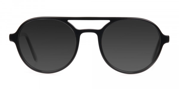 Black Aviator Sunglasses with Dark Grey Lenses  - 1