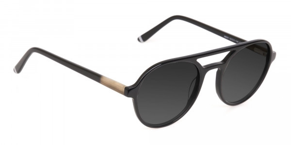 Black Aviator Sunglasses with Dark Grey Lenses - 2