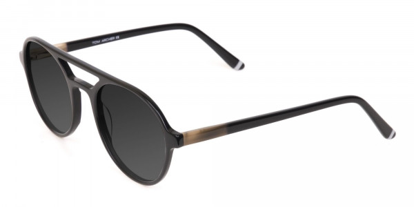 Black Aviator Sunglasses with Dark Grey Lenses - 3