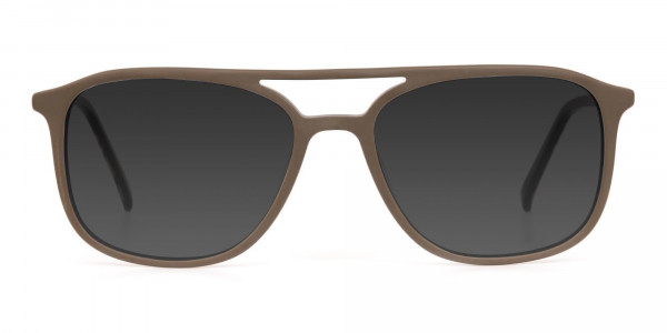 Brown Frame Sunglasses with Dark Grey Tint - 1