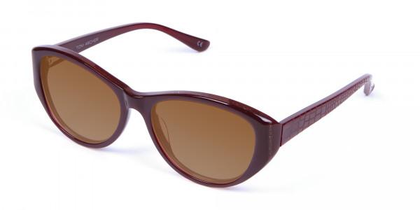 Women's Sunglasses Burgundy & Brown-3