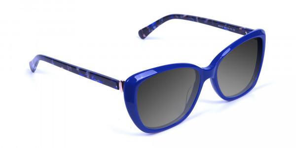 Women Blue Cat-Eye Sunglasses Oversize-2