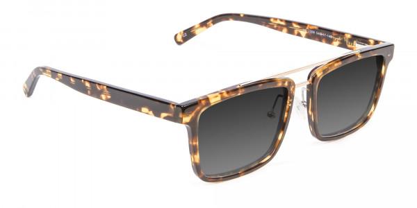 Men's Women's Dark Grey Rectangle Sunglasses-2