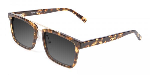 Men's Women's Dark Grey Rectangle Sunglasses-3