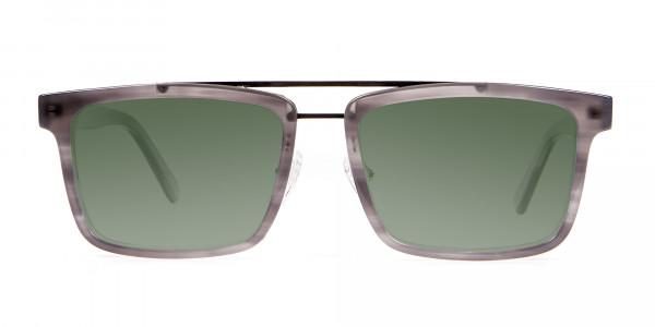 Unisex Dark Green Rectangular Sunglasses  Specscart-1