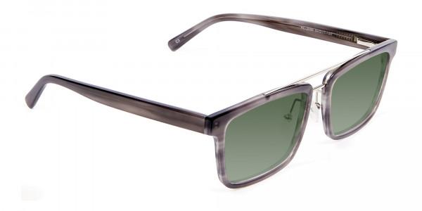 Unisex Dark Green Rectangular Sunglasses  Specscart-2