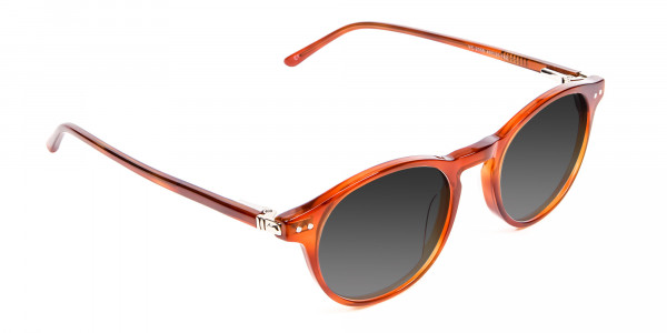 Caramel Grey Round Sunglasses Men Women-2