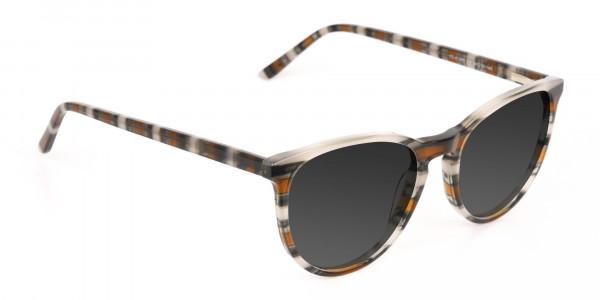 Silver Grey & Brown Striped Sunglasses - 2
