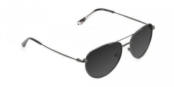 Grey Tinted Dark Navy Blue Aviator Sunglasses -2