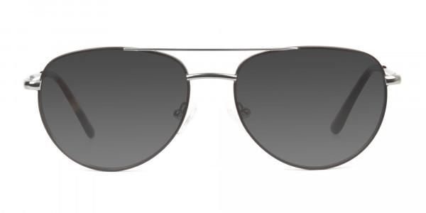 Grey Tinted Brown Gunmetal Aviator Sunglasses - 1