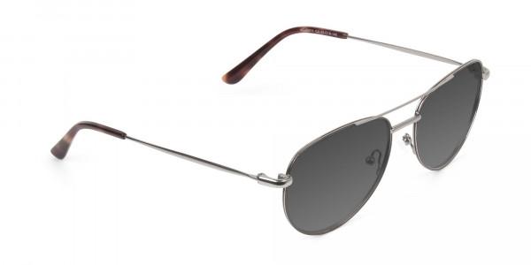 Grey Tinted Brown Gunmetal Aviator Sunglasses - 2