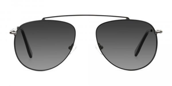 dark-navy-silver-metal-Grey-tinted-aviator-sunglasses-1