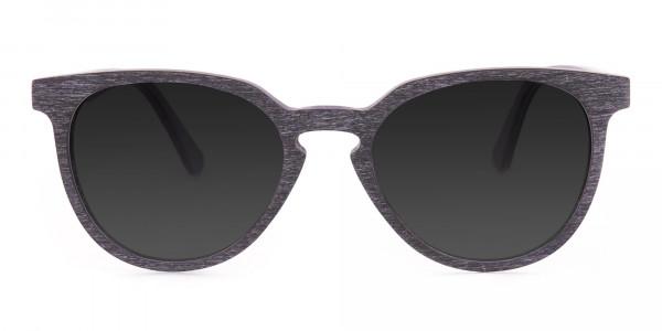 Dark Purple Wooden Frame Sunglasses - 1