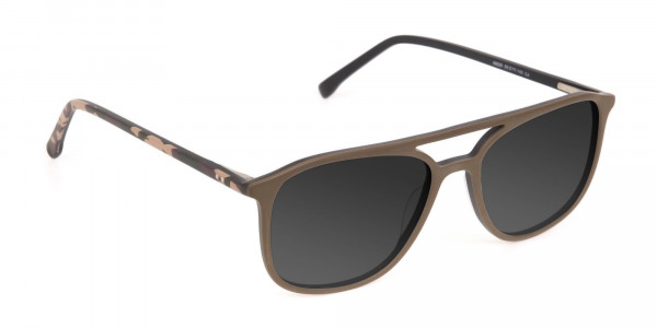 Brown Frame Sunglasses with Dark Grey Tint - 2