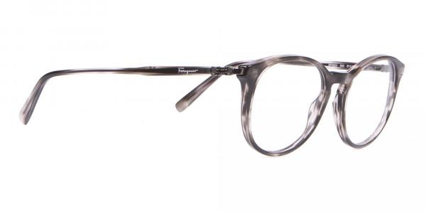 Salvatore Ferragamo SF2123 Retro Round Glasses Grey Horn-2