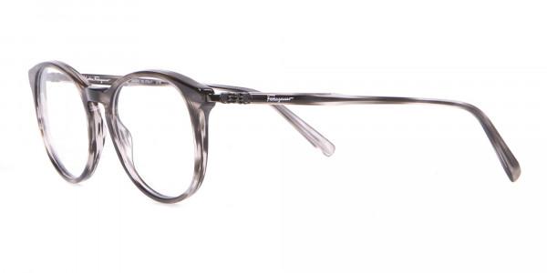 Salvatore Ferragamo SF2123 Retro Round Glasses Grey Horn-3