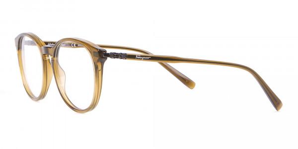 Salvatore Ferragamo SF2123 Retro Round Glasses Khaki-3