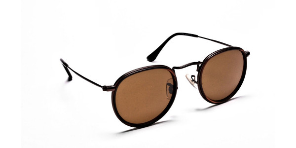 Fashion Brown Round Sunglasses - 1