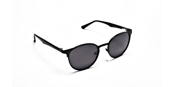 Black Retro Round Sunglasses - 1