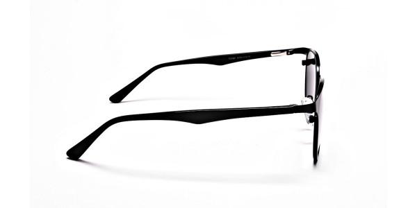 Black Retro Round Sunglasses - 3