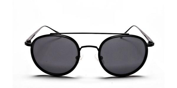 Black Round Metal Sunglasses