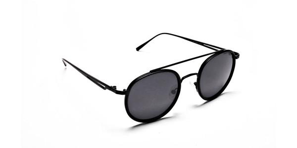 Black Round Metal Sunglasses - 1